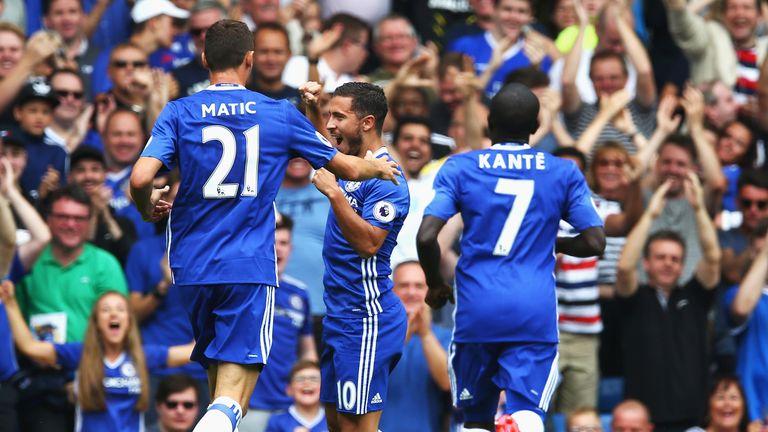 Eden Hazard celebrates with team-mates after scoring Chelsea's opening goal