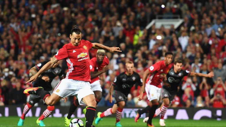Zlatan Ibrahimovic scores Manchester United's second goal from the penalty spot