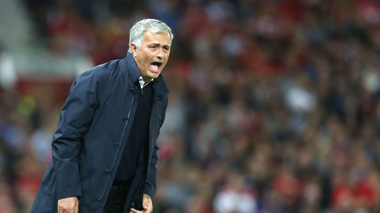 Jose Mourinho shouts instructions from the touchline