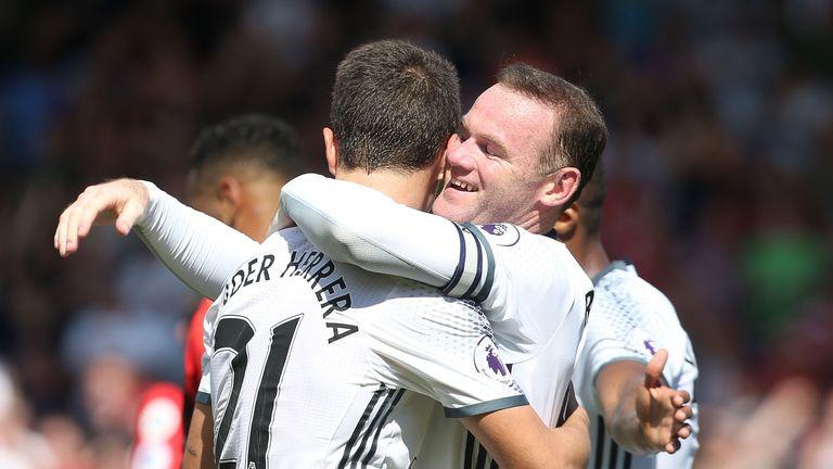 Wayne Rooney celebrating with Ander Herrera