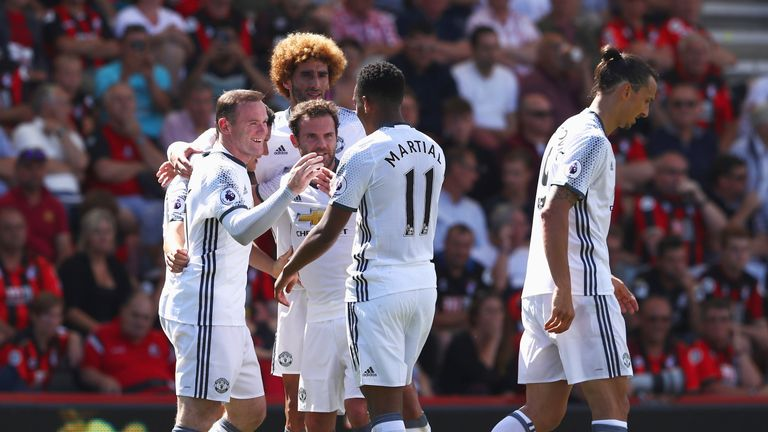 Wayne Rooney celebrates with his Manchester United teammates