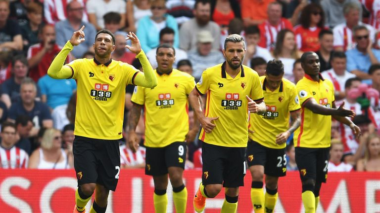 Etienne Capoue celebrates Watford's ninth-minute goal