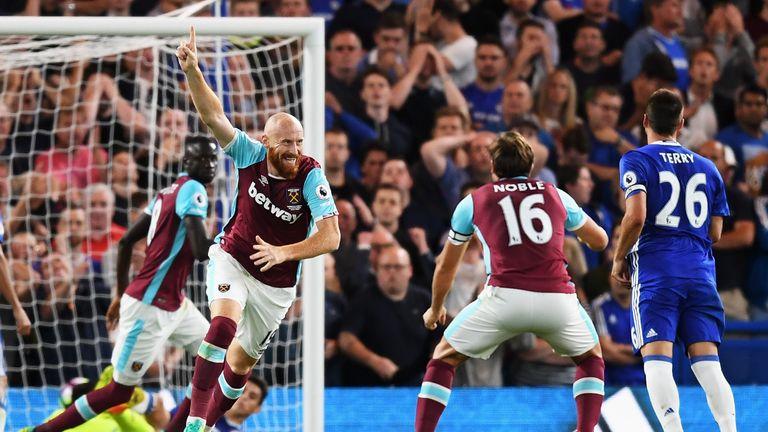 James Collins celebrates scoring West Ham's equaliser