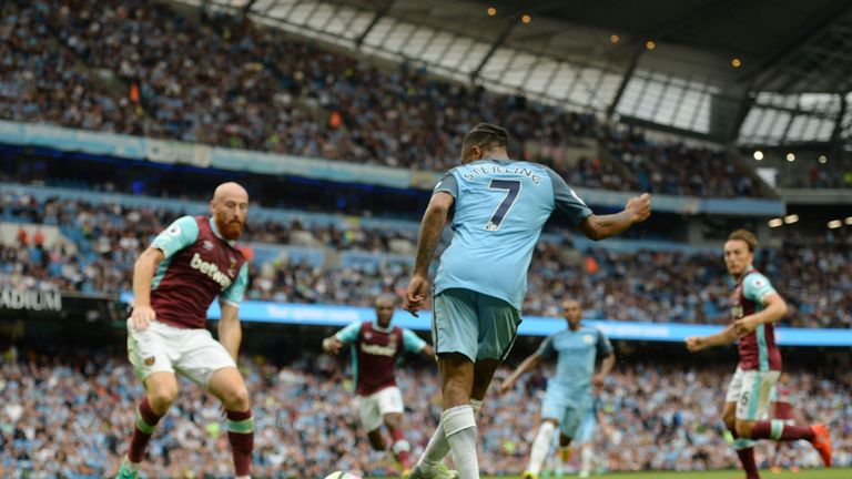 Raheem Sterling scores his second goal in the dying moments of the West Ham game