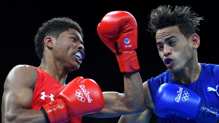 USA's Shakur Stevenson (red) fights Cuba's Robeisy Ramirez (blue) during the Men's Bantam (56kg) Final Bout at the Rio 2016 Olympic Games at the Riocentro