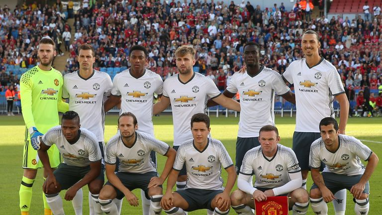 Ibrahimovic (top row, far right) and Rooney (front row, second right) are set to play together at Old Trafford for the first time against Everton