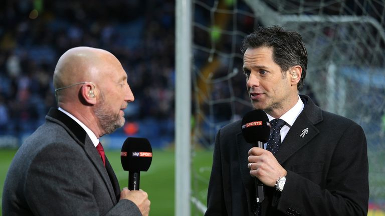 SHEFFIELD, ENGLAND - MAY 13:  Scott Minto (R) and Ian Holloway work as pundits for Sky Sports during the Sky Bet Championship Play Off First Leg match betw