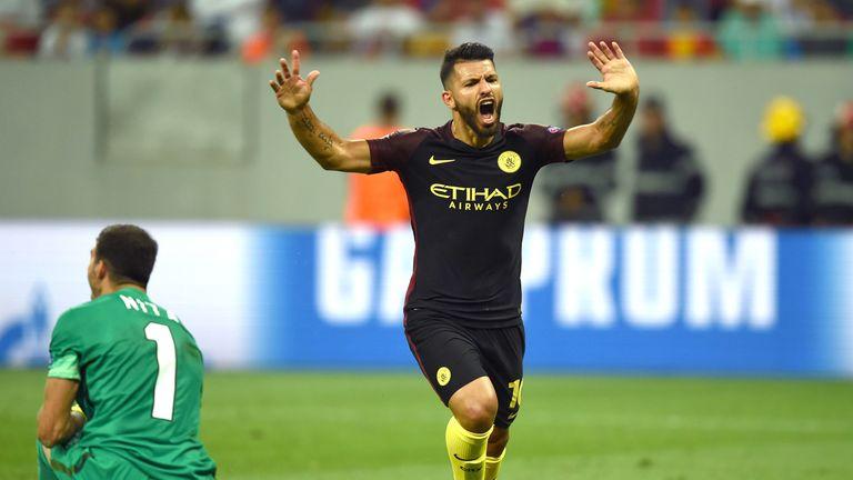 Sergio Aguero celebrates scoring Manchester City's second goal of the game