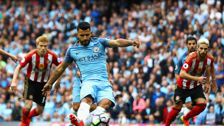 Sergio Aguero opens the scoring from the penalty spot against Sunderland