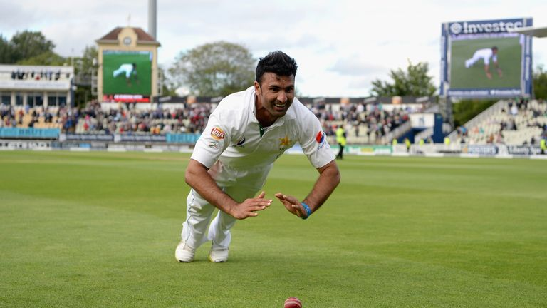 Sohail Khan celebrates his maiden Test five-for in memorable fashion