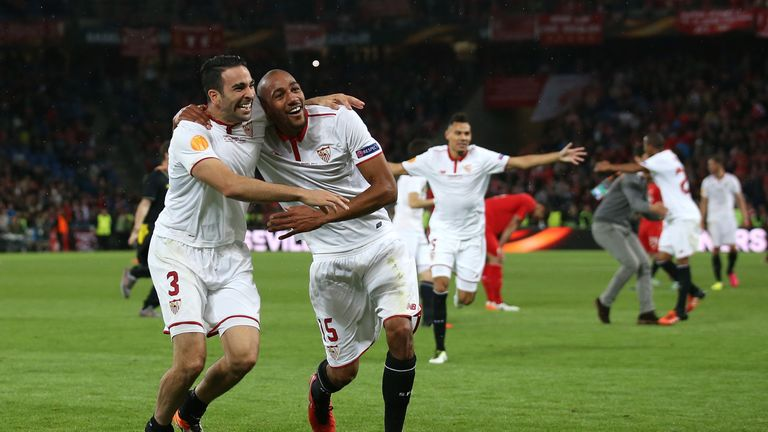 N'Zonzi (R) celebrates winning the Europa League after beating Liverpool in the final in May