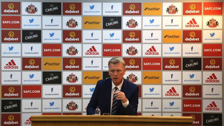David Moyes conducts his first press conference as Sunderland manager at The Academy of Light on August 1