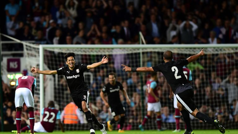 Takayuki Seto celebrates after scoring for Astra Giurgiu against West Ham in the Europa League last season
