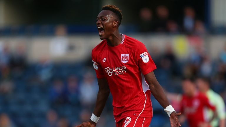 HIGH WYCOMBE, ENGLAND - AUGUST 08: Tammy Abraham of Bristol City celebrates after scoring to make it 0-1 during the EFL Cup match between Wycombe Wanderers