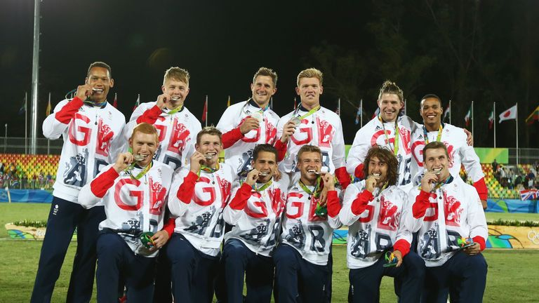 Silver medalists Great Britain pose during the medal ceremony