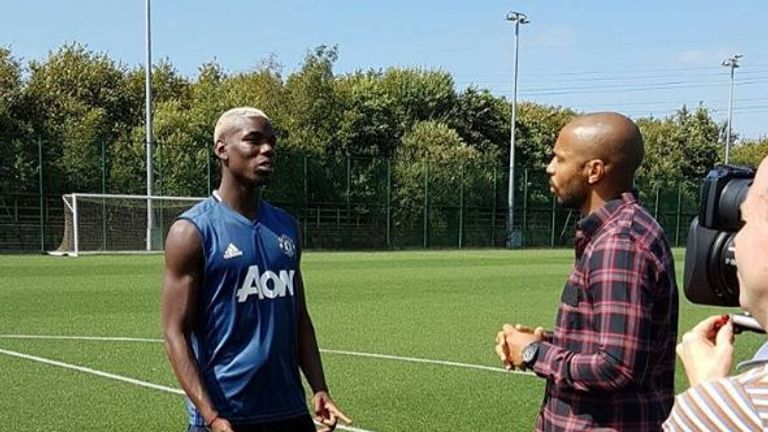 Thierry Henry's interview with Paul Pogba will soon be available across all Sky Sports platforms ahead of Manchester United v Southampton