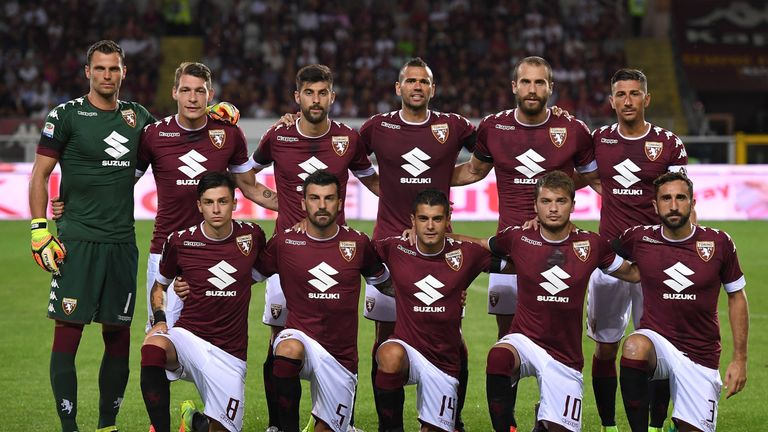 TURIN, ITALY - AUGUST 28:  Players of FC Torino line up during the Serie A match between FC Torino and Bologna FC at Stadio Olimpico di Torino on August 28
