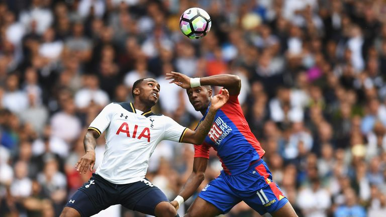 Danny Rose of Tottenham Hotspur battled with Wilfried Zaha