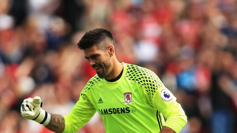 MIDDLESBROUGH, ENGLAND - AUGUST 13:  Carlos de Pena of Middlesbrough reacts during the Premier League match between Middlesbrough and Stoke City at Riversi