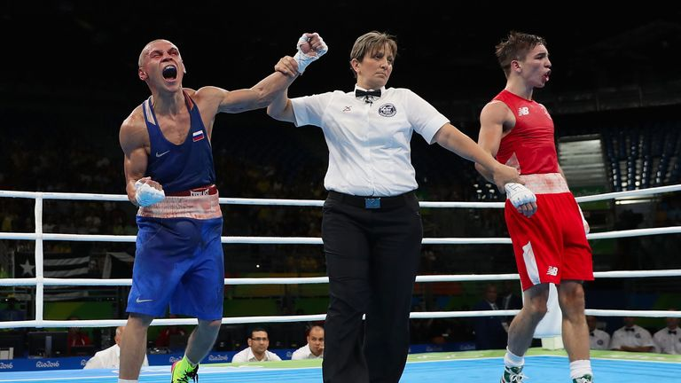 Nikitin celebrates the decision over Conlan
