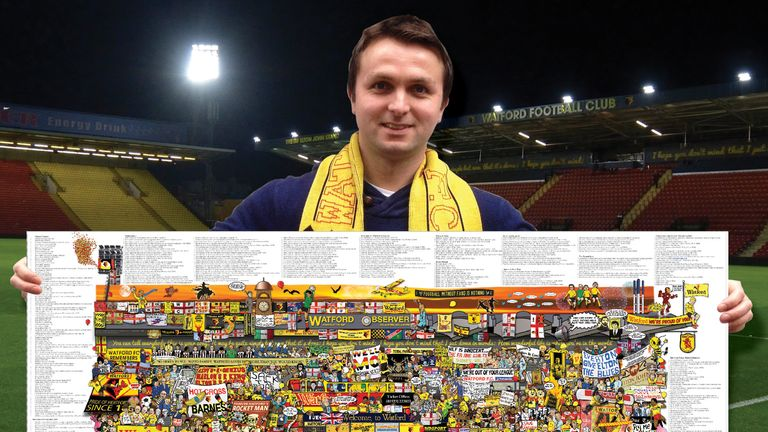 Watford fan and artist Alex Bennett with his 'Watford Mishmash'