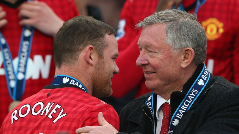 Sir Alex Ferguson congratulates Wayne Rooney after Manchester United's title win in 2012/13