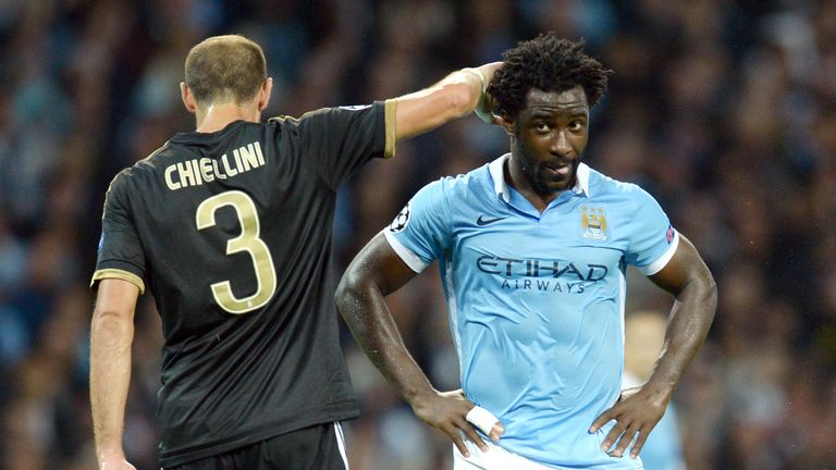 Wilfried Bony (R) reacts after missing a shot on goal during   the UEFA Champions League group stage