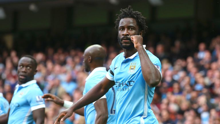 Wilfred Bony celebrates scoring for Manchester City