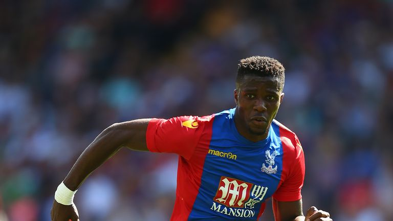 LONDON, ENGLAND - AUGUST 06:  Wilfried Zaha of Crystal Palace in action during the Pre Season Friendly match between Crystal Palace and Valencia at Selhurs