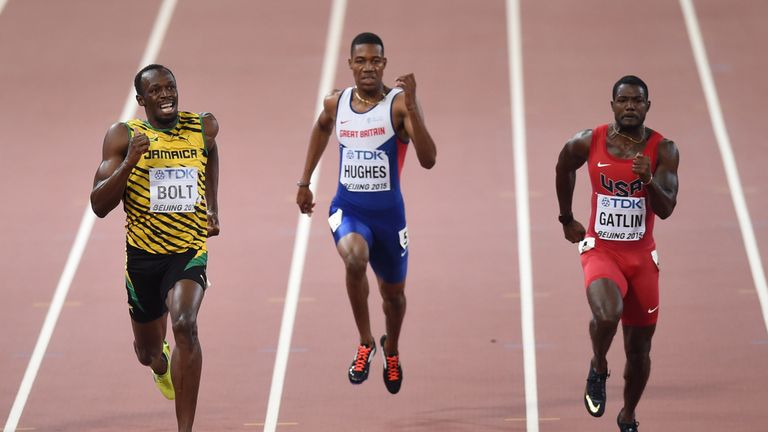 Zharnel Hughes competed with Bolt and Justin Gatlin at the World Championships