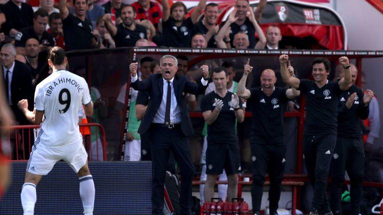 Manchester United's Zlatan Ibrahimovic celebrates scoring in front of manager Jose Mourinho