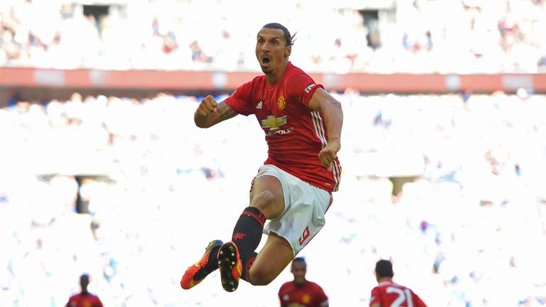 Zlatan Ibrahimovic celebrates scoring Manchester United's second goal against Leicester in the Community Shield