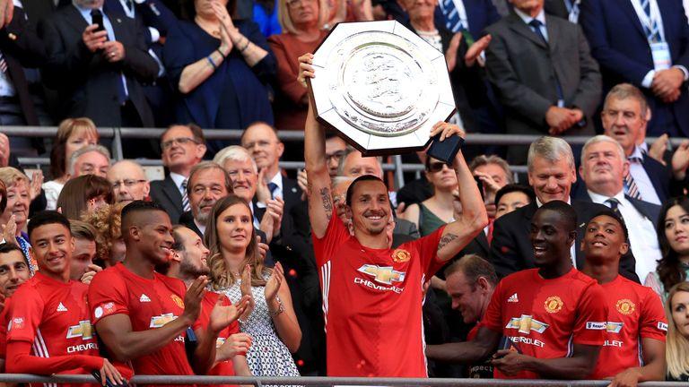 Manchester United's Zlatan Ibrahimovic lifts the Community Shield