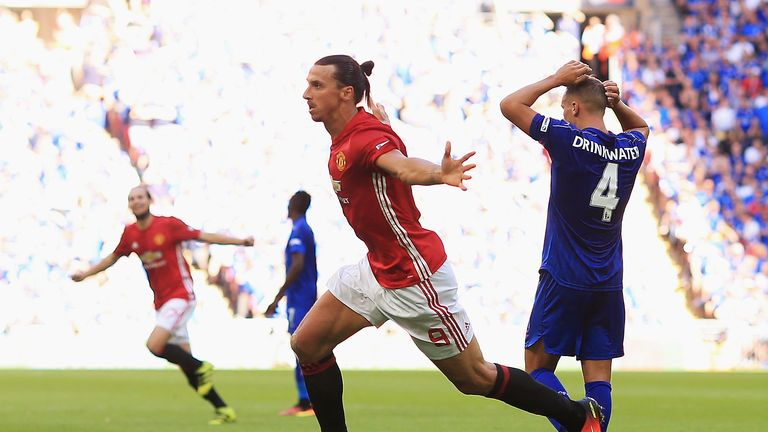 Zlatan Ibrahimovic celebrates after scoring Manchester United's second goal