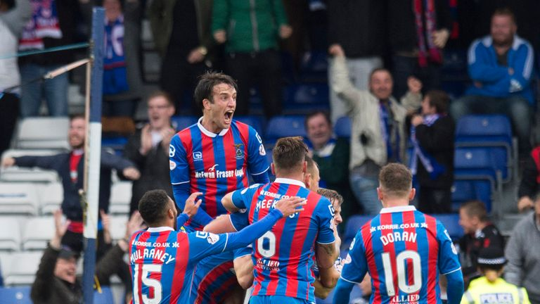 Inverness Caley Thistle's Alex Fisher (hidden) celebrates his goal