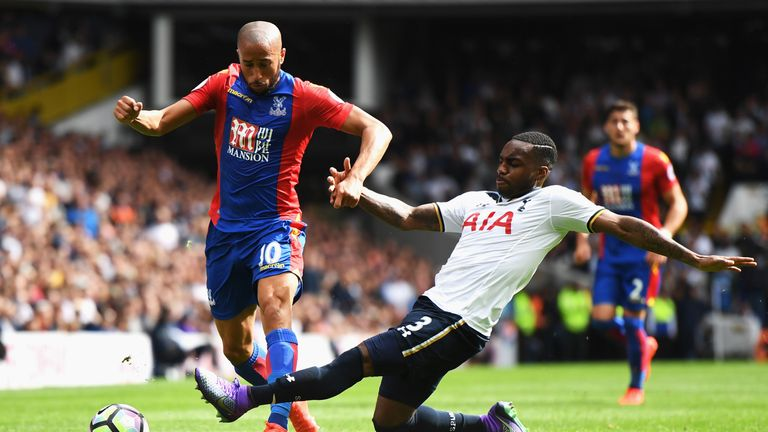 Andros Townsend of Crystal Palace is challenged by Danny Rose of Tottenham Hotspur during the Premier League match at White Hart Lane in August 2016