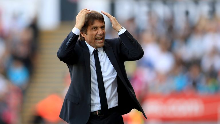 Chelsea manager Antonio Conte reacts on the touchline during the Premier League match at the Liberty Stadium, Swansea