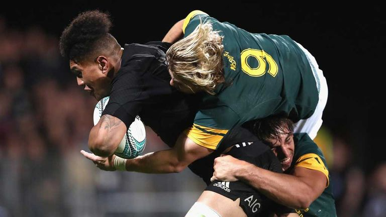 There's no stopping Ardie Savea as he powers over for one of six All Black tries