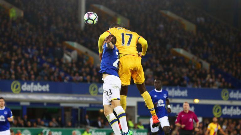 Christian Benteke heads in Crystal Palace's equaliser against Everton