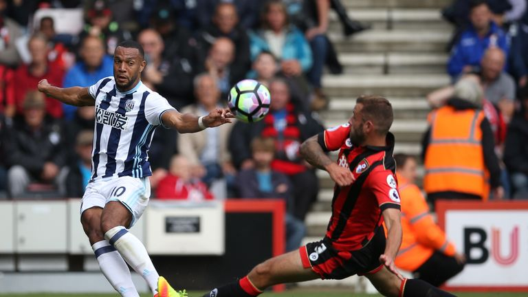 Matt Phillips sends in a cross in for West Brom against Bournemouth