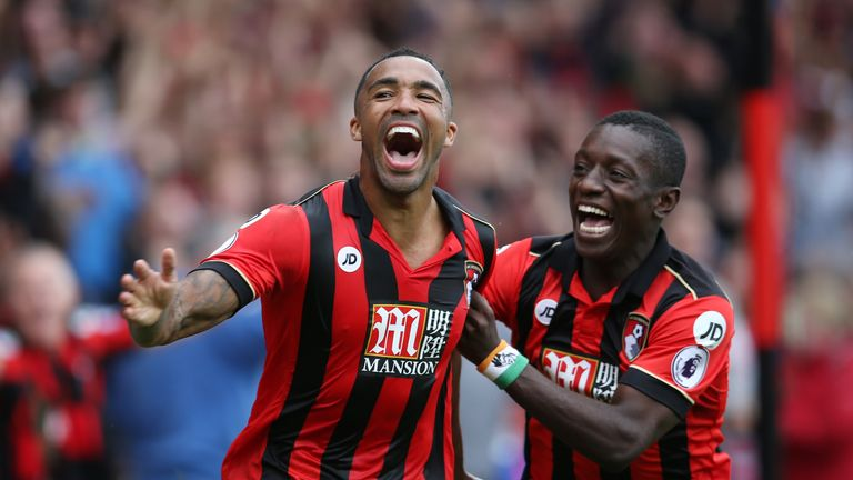 Callum Wilson of AFC Bournemouth (L) celebrates scoring his sides first goal with Max Gradel