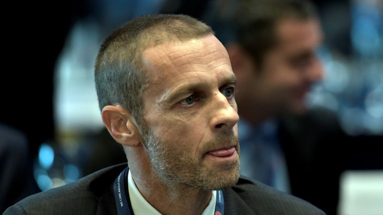 UEFA Presidential candidate, Slovenian Aleksander Ceferin is pictured during the 12th Extraordinary UEFA congress in Lagonissi, some 40 kilometers south of