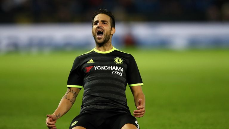 LEICESTER, ENGLAND - SEPTEMBER 20:  Cesc Fabregas of Chelsea celebrates scoring his sides fourth goal during the EFL Cup Third Round match between Leiceste