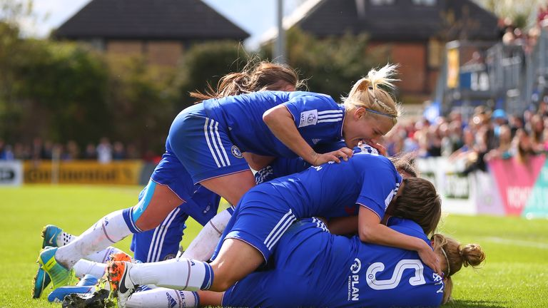 STAINES, ENGLAND - APRIL 17:  Katie Chapman of Chelsea celebrates with Ji So Yun after she scores her side's first goal during the SSE Women's FA Cup Semi-