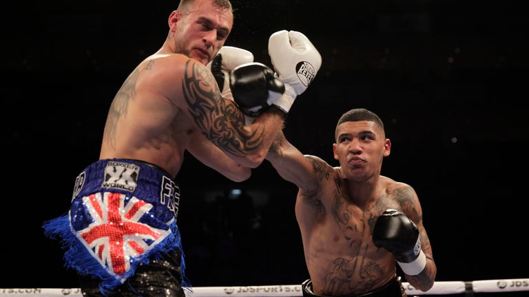 Conor Benn lands a powerful right hand