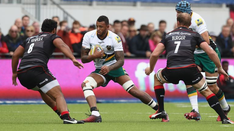 Courtney Lawes proved a menace with the ball against Saracens