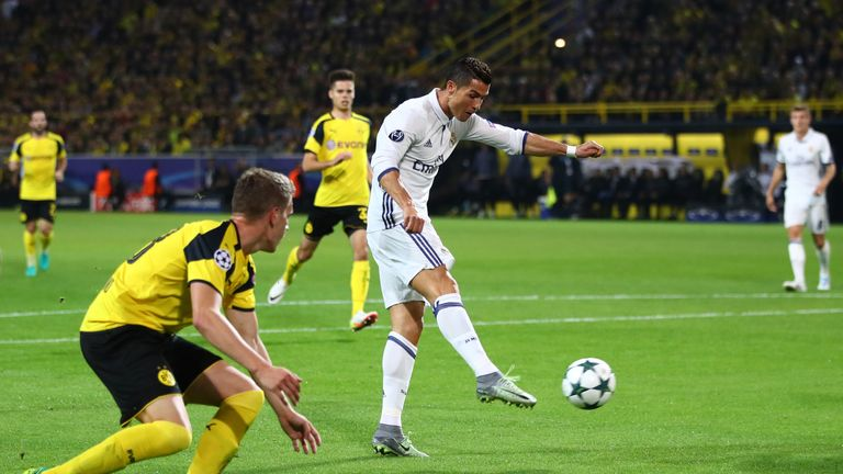 Cristiano Ronaldo puts Real Madrid ahead against Borussia Dortmund