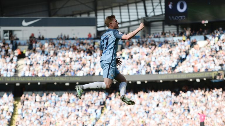 De Bruyne scored in Man City's 4-0 victory against Bournemouth on Saturday