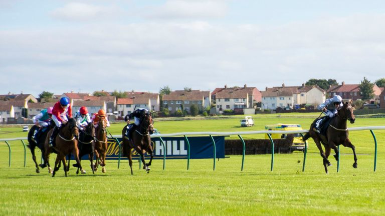Delectation, ridden by Paul Mulrennan, wins the William Hill Firth of Clyde Stakes at Ayr
