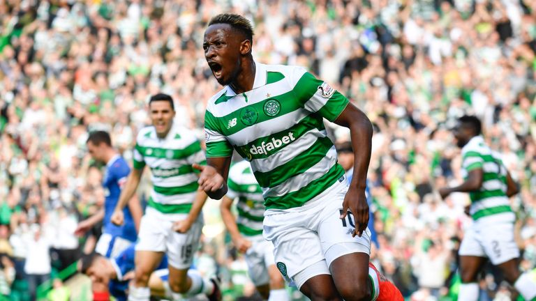 10/09/16 LADBROKES PREMIERSHIP  .  CELTIC v RANGERS  .  CELTIC PARK - GLASGOW  .  Celtic's Moussa Dembele celebrates his goal
